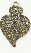 Steampunk Filigree Heart charm Pack of 3, 47mm x 35mm each