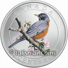 Canada 2013 Colorful Birds American Robin 25 Cents Color Quarter in Full OGP