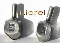 Lot 2 Metal Hanukkah Dreidels Made in Israel Jewish Spinning Top Game Craft GIft