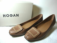 "Hogan Solid Brown Leather 1""Kitten Heel Pumps Cross-Stitch Tacco 20 Italy  8.5 M"