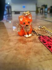 BETSEY JOHNSON FOX NECKLACE WITH CRYSTALS ADORABLE A+++ QUALITY