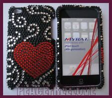 iPod Touch 4th Gen - Red Curve Heart Silver Swirl Diamond Bling Rhinestone Case