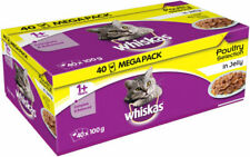 Whiskas Adult 1+ Poultry Selection Jelly Cat Food Pouches 100g Pack of 40 units