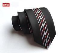 Negro, blanco y rojo estampado hecho a mano 100% SEDA Skinny CORBATA DE BODA