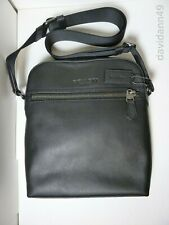 NWT COACH F68014 Men's Leather HOUSTON Flight Crossbody Bag -Black