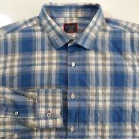 UNTCKit Mens XL Long Sleeve Slim Fit Plaid Cotton Button Up Dress Shirt