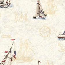 Nautical Map Sailors Knots Wallpaper Chesapeake Wallcoverings BBC47501