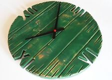 Wall Clock wood pallet shabby chic vintage classic old-style green 40cm rustic