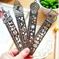 Retro Hollow Metal Drawing Bookmarks Ruler For Office School Accessoriesll