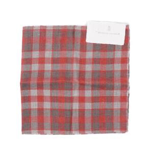NWT $185 BRUNELLO CUCINELLI Reversible Check Print Linen-Cotton Pocket Square