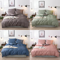 Plain Dyed Duvet Quilt Cover Bedding Set With Pillowcase Single Double King Cosy