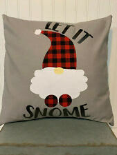 """LET IT SNOME gnome on gray/18"""" x 18""""/ Cotton Pillow Cover"""