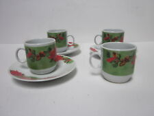 3 CASA BELLA CHRISTMAS POINSETTIA FLOWER DESIGN DEMITASSE CUPS & SAUCERS