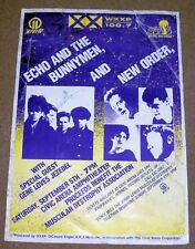 NEW ORDER ECHO AND THE BUNNYMEN RARE AUTO'D CONCERT POSTER SAT SEPT 5th 1987 USA