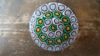 """Antique Unsigned Millefiori Yellow Green White Paperweight 2 7/8"""""""