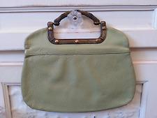 Vintage Justin Mari-Jane Green Leather Purse Handbag Clutch Heavy Brass Handle!
