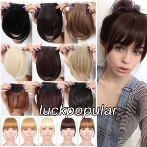 Clip in Front Bangs Clip on Fringe Hair Extensions Real Remy Human Hair Straight