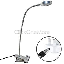 USB Silver LED Clip-on Flexible Reading Light Bed Table Desk Lamp Day White