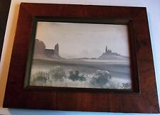 Desert Scene Watercolor by Juan Nakai, 1963, Framed