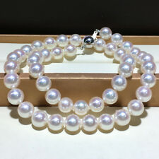 "18"" Gorgeous AAA+ 8.5-9mm real natural Akoya white round pearl necklace 14k gold"