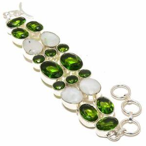 """Burmese Rainbow Moonstone & Peridot 925 Sterling Silver Bracelet Jewelry 7-8"""" T0"""