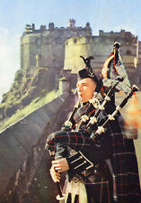 postcard Scotland  Edinburgh Castle and piper  unposted