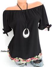 Bluse Shirt Italy Carmen Blusenshirt Schleifen Blüten Abschluss Schwarz  36 38