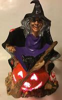"Vtg ceramic Witch Halloween Lighted Lamp Light Spooky 60s 70s Jack O Lantern 11"""