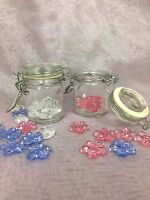 """Small Glass Jars with Locking Style Lids -2 1/8"""" tall 1 3/4"""" diameter ~LOT of 6"""