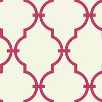 Wallpaper Designer Moroccan Arabesque Bright Pink Trellis on Eggshell White