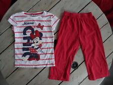 Pyjama 2 pièces manches courtes rouge blanc imprimé Minnie DISNEY taille 6 ans