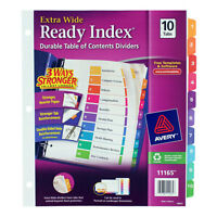 Avery Ready Index Customizable Table Of Contents Asst Dividers 10-Tab 11 X 9 1/2