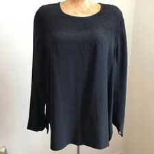 Vintage Diane Von Furstenburg Women's Top 100% Silk Assets Sz M Beaded Black