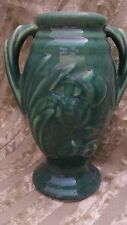"nice vintage  Shawnee 6"" handled vase, green with clover design"