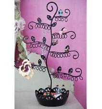 Negro Elegante Pendiente Joyas Pantalla titular soporte de árbol Metal Collar Anillos
