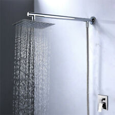 8 inch Square Stainless Steel Rain Shower Head & Extension Arm Bottom Hose UK