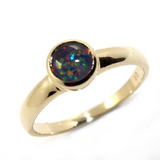 GENUINE AUTHENTIC BLACK OPAL TRIPLET REAL SOLID 9K YELLOW GOLD RING - RED FLASH
