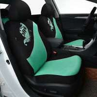 2 front Car Seat Covers universal butterfly embroidery Breathable green