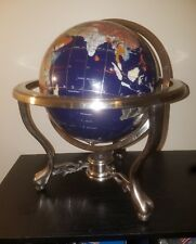 """14"""" BLUE LAPIS GEMSTONE GLOBE with Silver COMPASS Stand"""