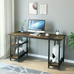 Computer Desk Home Office Study Writing PC Laptop Table Workstation w/ Shelves