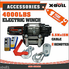 12V 4000LBS Electric Winch Steel Cable Boat Winch 4WD ATV 4X4 with 2 Remote
