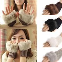 Fashion Women's fur Knitted Fingerless Winter Gloves Unisex Soft Warm Mittens S