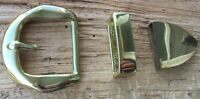 Western/Amish Solid Brass Belt Buckle Set Choice of Buckle, Keeper & Tip 1 1/2""