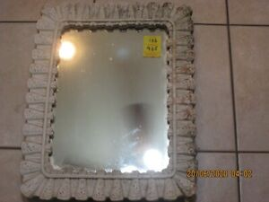 "Antique Wood White Framed Mirror 13 x 17"" Shabby Chic Standing (6)"