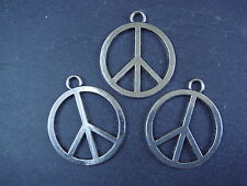 3 Large Silver Tibetan Peace Sign pendants /charms