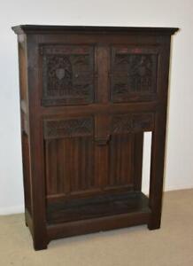 Antique Oak Gothic Revival Liquor Storage Cabinet