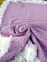 Soft Lavender Lace Crocheted Handmade Baby Blanket Lilac Purple 35x50in