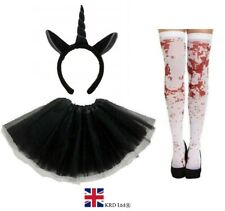 ZOMBIE UNICORN COSTUME Ladies Kids Ghost Halloween Scary Fancy Dress ZDM31403 UK