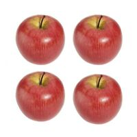 4 grandes pommes rouges artificielles de fruits decoratifs F2H2