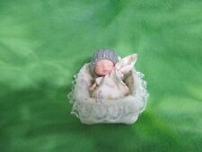 """3"""" BABY DOLL + BED BLANKET PILLOW PANTY KNIT HAT SMALL NURSERY DECOR BABY GIFTS"""